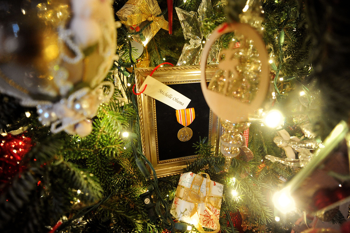Holiday decorations at the white house are displayed during a press - Holiday Decorations At The White House Are Displayed During A Press 45
