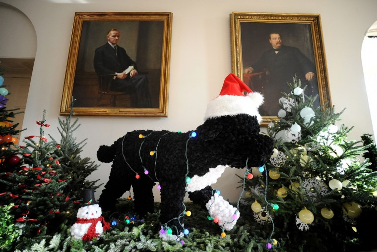 A replica of the first family dog, Bo, is seen as part of the White House holiday decorations. (Olivier Douliery/Abaca Press/MCT)