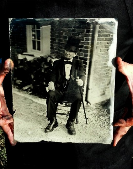 Lincoln Ambrotype: This is an 8x10 Wet Plate Glass Negative shot for the Harpers Ferry National Park Service of the wonderful Jim Getty as Abraham Lincoln in front of the guard house in lower town. During the Civil War the popular photographic process was Wet Plate Collodion. This requires the plate to be sensitized with silver, shot and then developed all before it dries!