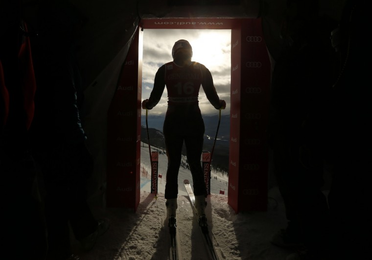 Lindsey Vonn of the U.S. stands in the start hut before taking her training run for the Women's World Cup Downhill in Lake Louise, Alberta. (Mike Blake/Reuters)
