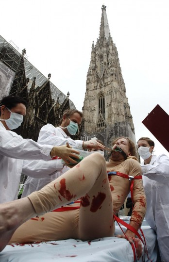 Members of the animal rights activist group Verein gegen Tierfabriken (Association against animal factories) simulate medical tests during a protest against animal experiments in Vienna. (Heinz-Peter Bader/Reuters)