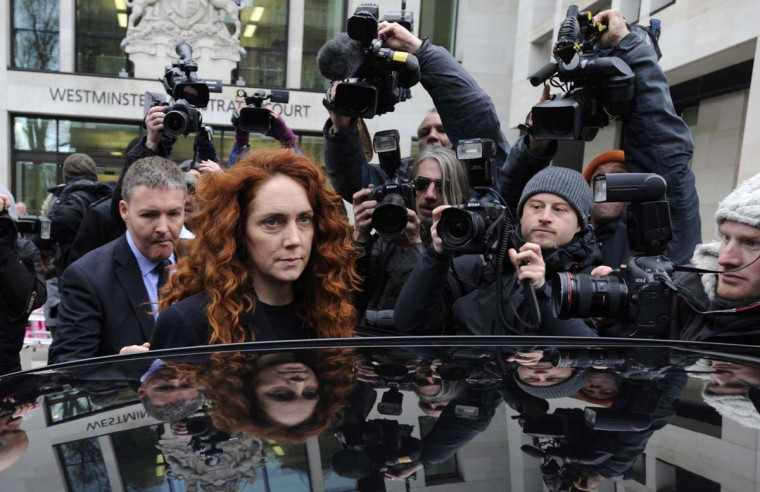 Former News International chief executive Rebekah Brooks leaves Westminster Magistrates Court after appearing to face charges linked to alleged corrupt payments to public officials in London. (Neil Hall/Reuters photo)