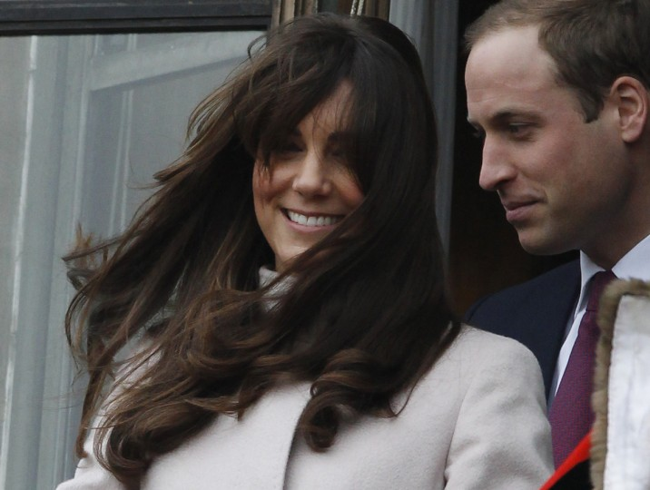 The new hairstyle of Catherine, Duchess of Cambridge is blown by the wind during a visit with Prince William to Cambridge, central England. (Luke MacGregor/Reuters)