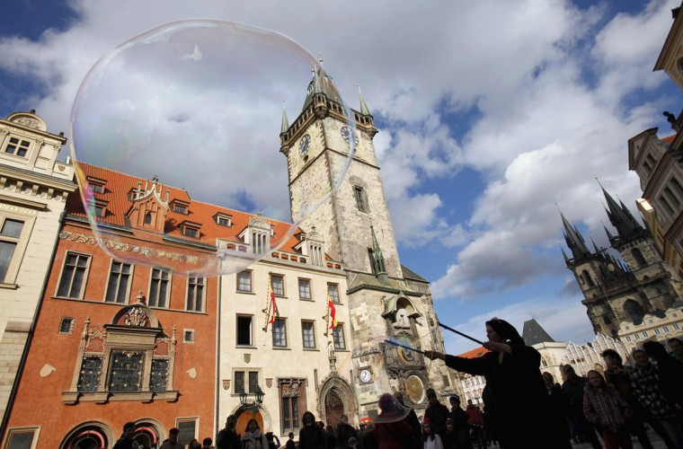 A street artist blows soap bubbles at the Old Town Square in Prague. (David W Cerny/Reuters)