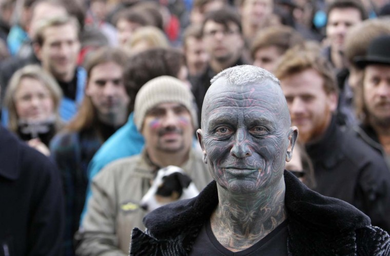 Vladimir Franz, university teacher, painter and composer who has tattoos covering 90 percent of his body attends a rally in Prague November 5, 2012, after he collected more then 50,000 supporting signatures which put him into the official race for the Czech Presidency. The first ever direct presidential election in Czech Republic takes place in January 2013 to replace the outgoing president Vaclav Klaus. (David W. Cerny/Reuters)