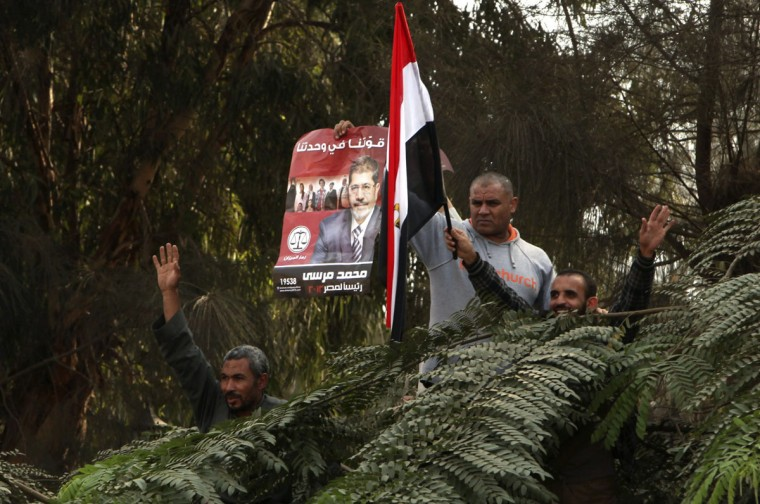 Supporters of Egyptian President Mohamed Mursi stand on trees as they chant pro-Mursi slogans and praise a new decree he issued on Thursday, during a protest in front of the presidential palace in Cairo November 23, 2012. (Asmaa Waguih/Reuters)