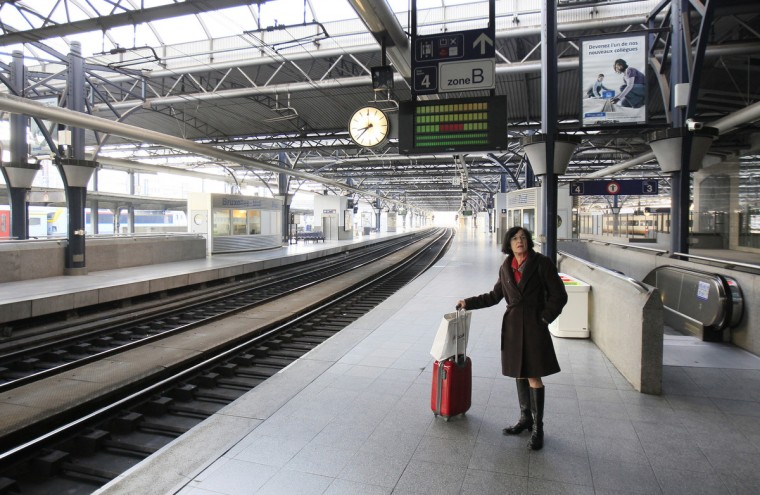 A passenger waits on an empty platform at the Thalys high-speed train terminal at Brussels Midi/Zuid rail station during an European strike. Millions of workers joined strikes across southern Europe on Wednesday to protest against spending cuts and tax hikes that trade unions say have brought misery and deepened the region's economic crisis. (Yves Herman/Reuters)