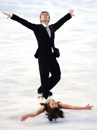 Ekaterina Riazanova and Ilia Tkachenko of Russia (top) practice during a training session before the Bompard Trophy event at Bercy in Paris. (Gonzalo Fuentes/Reuters photo)