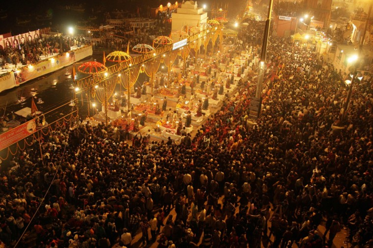 Hindu devotees gather to offer prayers on the banks of river Ganges during the Karthik Purnima festival on the occasion of Dev Deepawali at Dasasumerghat in the northern Indian city of Varanasi. Dev Deepawali is celebrated on the fifteenth day of Diwali, on the full moon day in the month of Karthik (also known as Karthik Purnima) in a tribute to river Ganges by the Hindu devotees of Varanasi. (Jitendra Prakash/Reuters)