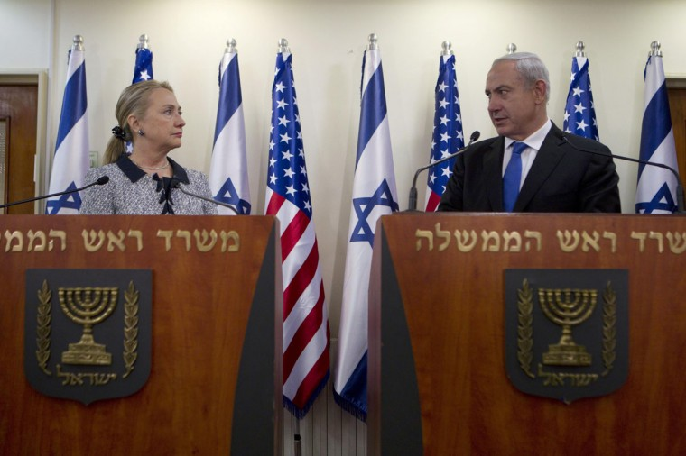NOVEMBER 20: Israel's Prime Minister Benjamin Netanyahu and U.S. Secretary of State Hillary Clinton deliver joint statements in Jerusalem. (Baz Ratner/Reuters)