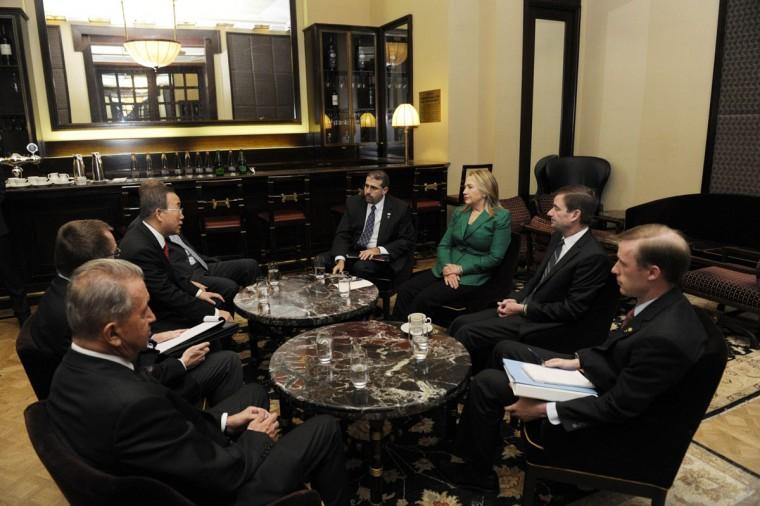 NOVEMBER 21: U.S. Secretary of State Hillary Clinton meets with U.N. Secretary-General Ban Ki-Moon (rear L) at a hotel in Jerusalem. (U.N. Photo/Evan Schneider/Handout/Reuters)