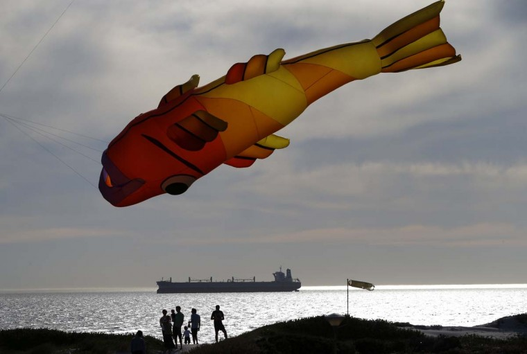 Onlookers watch as giant kites take to the skies at Blouberstrand near Cape Town, South Africa. The event is part of the annual Cape Town International Kite Festival which takes place this weekend. (Mike Hutchings/Reuters photo)