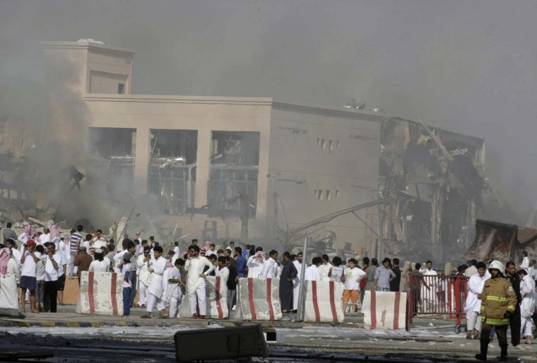 Smoke rises after an explosion which severely damaged an industrial building in eastern Riyadh. At least 22 people were killed when a fuel truck crashed into a flyover in the Saudi capital Riyadh on Thursday, triggering the explosion that brought down the industrial building, Saudi state television reported. (Mohammed Mashhor/Reuters photo)