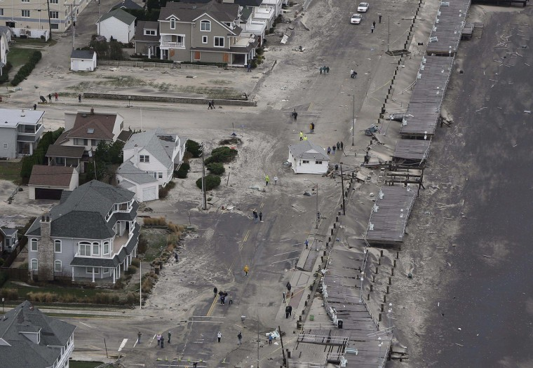 Hurricane Sandy damage is seen on the bay side of Belmar, New Jersey. (Tim Larson/New Jersey's governor's office)