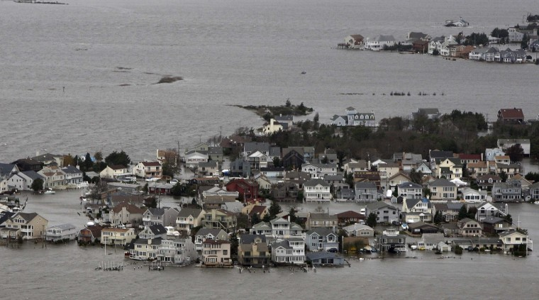 Hurricane Sandy damage is seen on the bay side of Seaside Heights, New Jersey. (Tim Larson/New Jersey's governor's office)
