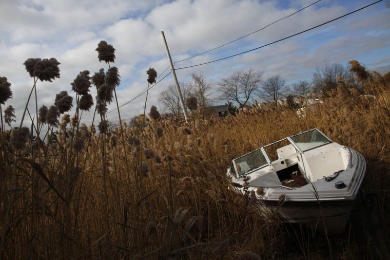 A boat damaged by Hurricane Sandy is seen in the Staten Island borough of New York. (Eric Thayer/Reuters)
