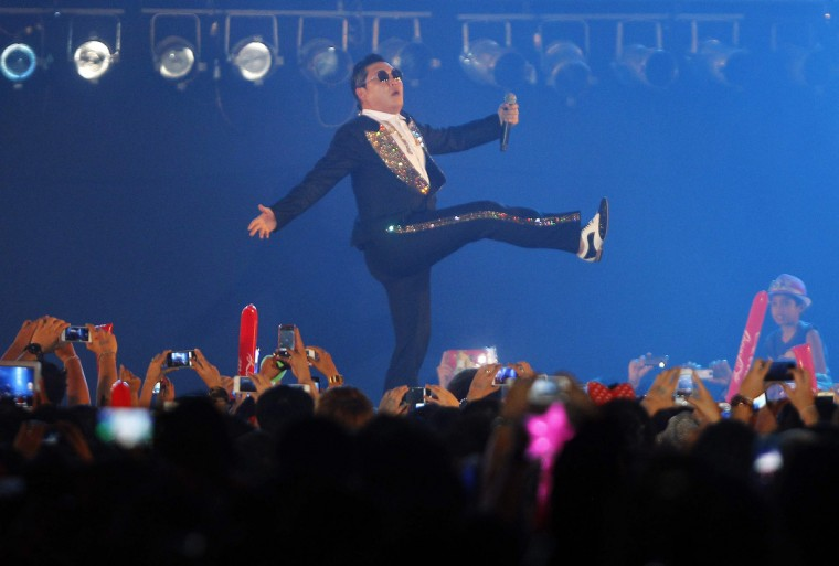 South Korean rapper Psy performs during a concert in Bangkok. (Chaiwat Subprasom/Reuters)