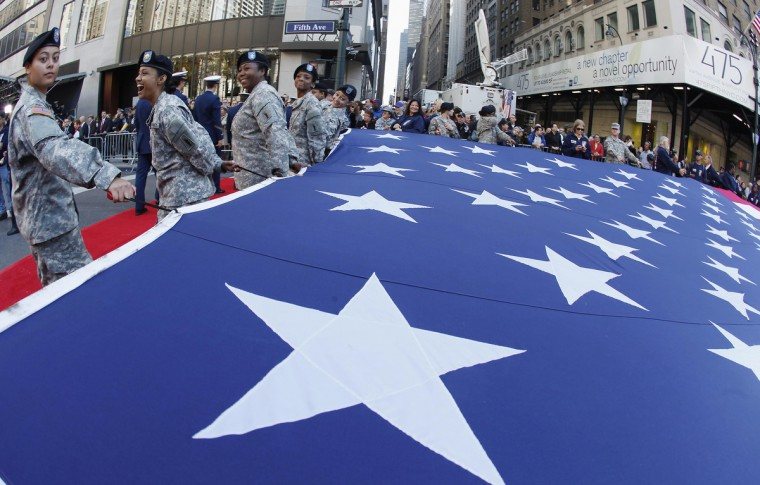 Members of the Army march up 5th Avenue during the Veterans Day Parade in New York November 11, 2012. (Carlo Allegri/Reuters)