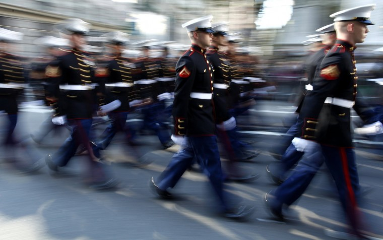 Members of the Marine Corps march up 5th Avenue during the Veterans Day Parade in New York November 11, 2012. (Carlo Allegri/Reuters)