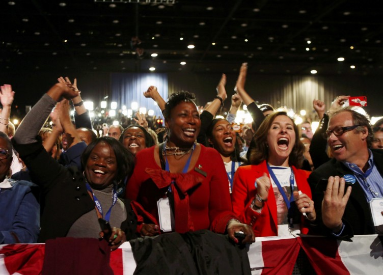 Supporters of U.S. President Barack Obama cheer during his election night rally in Chicago, November 6, 2012. (Kevin Lamarque/Reuters)