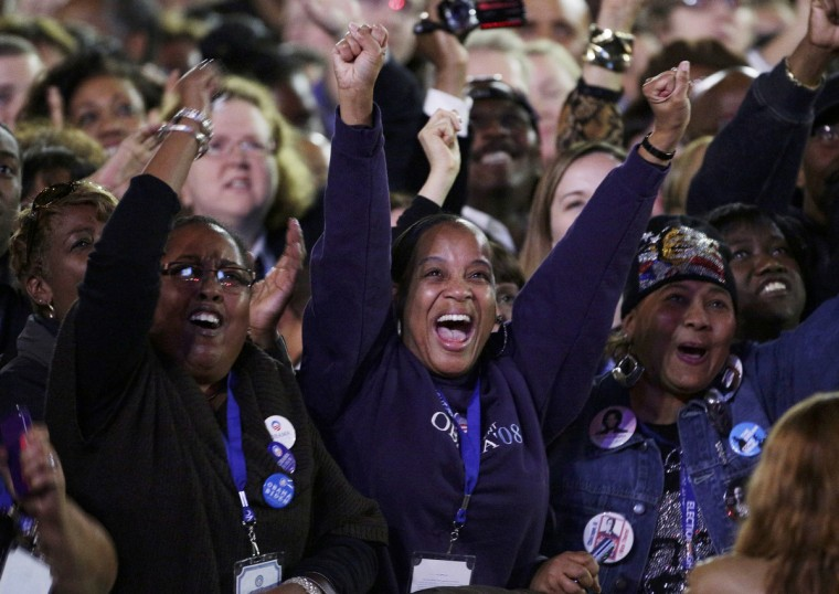 U.S. President Barack Obama supporters cheer while watching the returns prior to his election night rally in Chicago, November 6, 2012. (John Gress/Reuters)