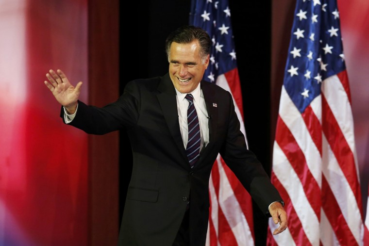 Republican presidential nominee Mitt Romney arrives to deliver his concession speech during his election night rally in Boston, Massachusetts, November 7, 2012. (Mike Segar/Reuters)