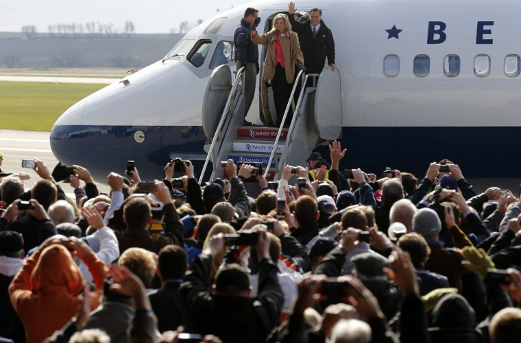 Republican presidential nominee and former Massachusetts governor Mitt Romney and his wife Ann step off the campaign plane for a rally in Dubuque, Iowa. (Jim Young/Reuters)