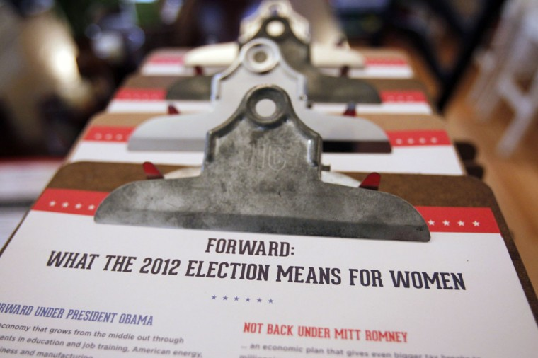 Clipboards holding campaign literature for volunteers canvassing for U.S. President Barack Obama are seen on a kitchen table in Portsmouth, New Hampshire. (Jessica Rinaldi/Reuters)
