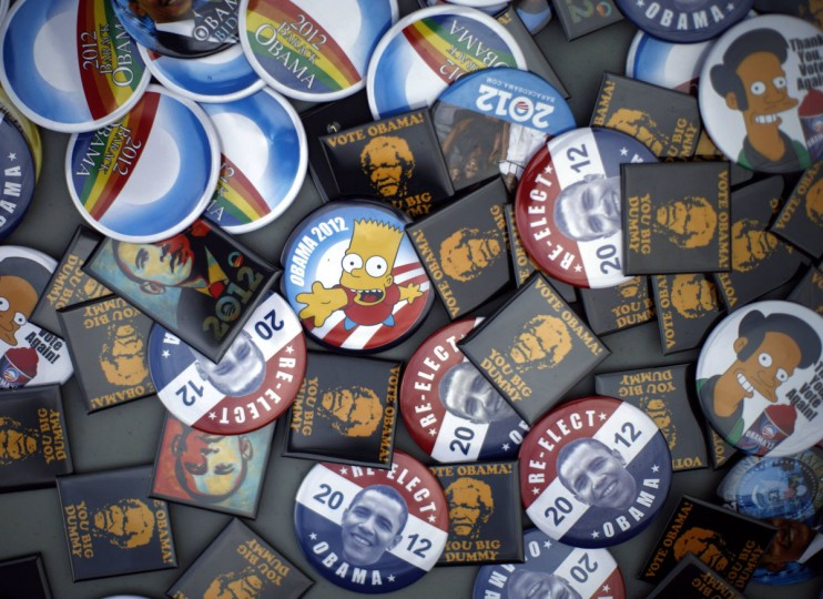 Campaign buttons supporting U.S. President Barack Obama are presented for sale outside Mentor High School, before a campaign rally, in Mentor, Ohio. (Jason Reed/Reuters)