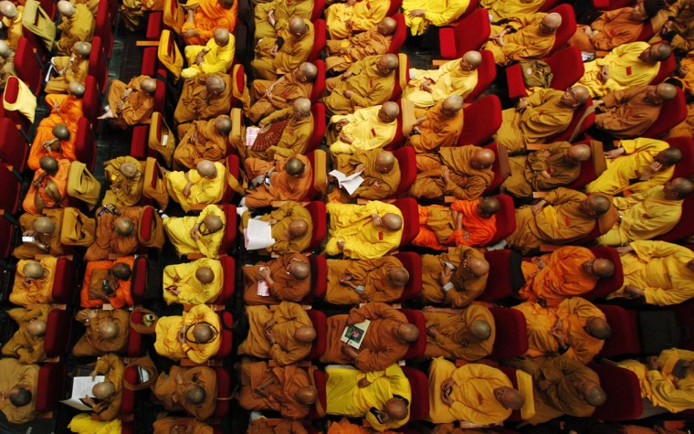 Buddhist monks attend the opening ceremony of the seventh congress of Vietnam's Buddhist Sangha Association in Hanoi. More than 1,000 Buddhist monks and nuns have gathered in Hanoi for a four-day national congress from November 21 to 24. (Kham/Reuters)