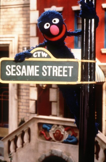 Grover, who officially debuted in Sesame Street's second season, poses with a street sign on the television program's set. This photo was released prior to the show's 28th season on PBS. Among the guests who stopped by the block: Rosie O'Donnell, Hootie and the Blowfish, Melissa Etheridge, and Jason Alexander. (Richard Termine/CTW/Handout)