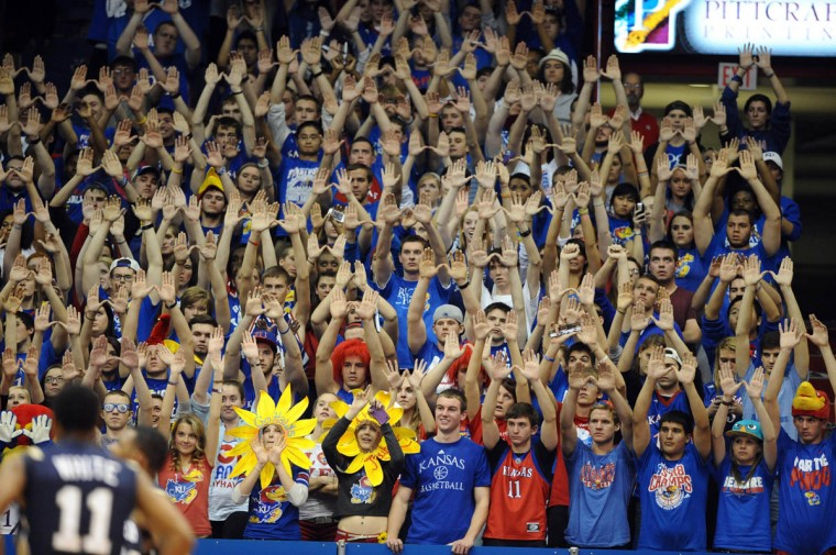 Kansas Jayhawks fans cheer against the Chattanooga Mocs in the second half at Allen Fieldhouse. Kansas won the game 69-55. (John Rieger-US Presswire)