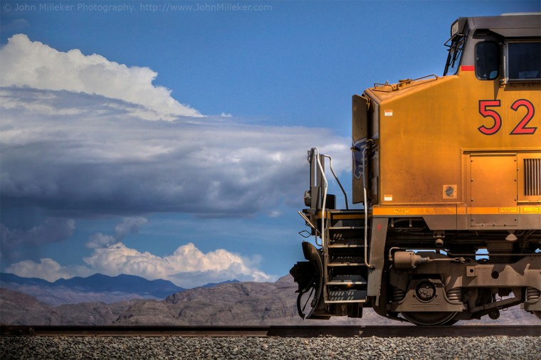 Union Pacific: Look for colors, look for shapes, don't be afraid to (safely and legally) get where you need to be to make the shot. Here a Union Pacific train was just idling in the desert outside of Las Vegas. Hurry up and get the shot, but take your time to do it right, you might not have the same chance again!