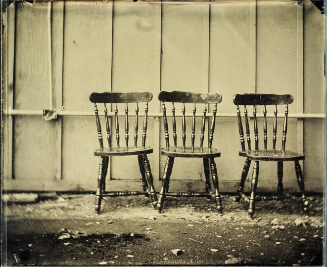 Wet Plate Collodion, Chairs: These chairs were found on the side of an abandoned building along the road in upstate New York. While the shot took about 20 seconds of exposure, setting up the darkbox, chemicals, camera and then tearing it all down again when completed took about 40 minutes. In addition to material costs, knowing that a single shot can take so long really helps you be selective about what you spend your time on.
