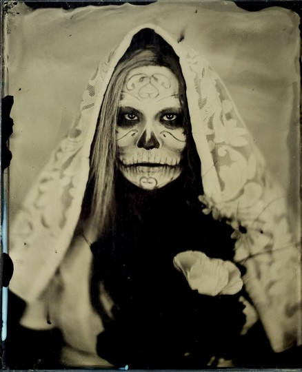 Wet Plate Collodion, Day of the Dead: It's great to apply the Wet Plate process to a subject or theme that fits the final product. Here's our good friend Trai in Day of the Dead themed makeup, shot in studio.
