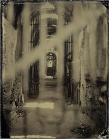 Wet Plate Collodion, Eastern State Penitentiary: Eastern State Penitentiary was kind enough to let us bring the whole process onto the grounds and make a few plates. This is an image shot down the hallway of the medical ward.