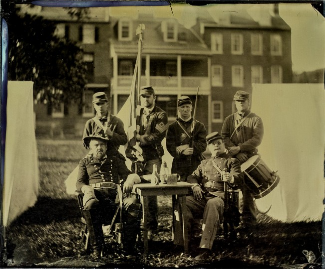 Wet Plate Collodion, Harpers Ferry Lower Town: This plate was struck of reenactors at Harpers Ferry Lower Town. We're proud to have worked with Harpers Ferry a few times in the past. I've never really been interested in reenacting a Civil War soldier, but taking the part of a Civil War photographer is a lot of fun. We love living history and sharing the wet plate process with anyone interested.