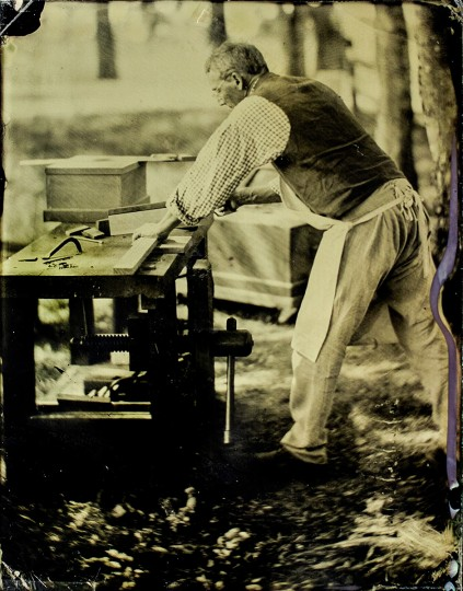 Wet Plate Collodion, JPPM: A plate of a craftsman at the Jefferson Patterson Park & Museum. We cheated and made plates at their 1812 reenactment. Wet plates weren't even invented until the late 1840's.