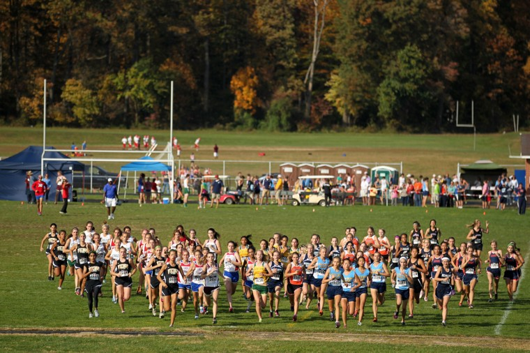 Girls start the race during the Howard County Championship at Centennial HIgh School in Ellicott City on Tuesday, Oct. 23, 2012. (Jen Rynda/Baltimore Sun Media Group)
