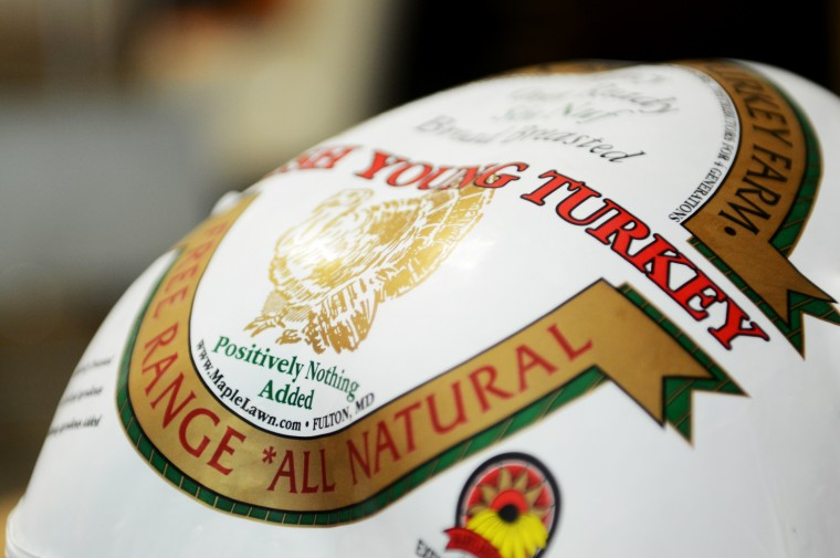 A close-up shows a Maple Farms turkey after it has been harvested, processed and packaged. (Jon Sham/Baltimore Sun Media Group)