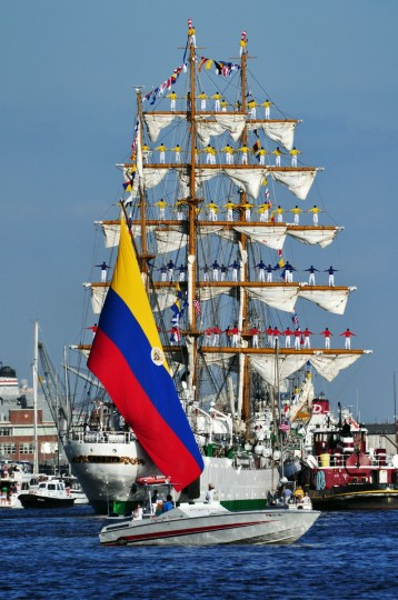 "The winner for this week's SunShots series ""Sailabration"" goes to Rob Lynch for his picture of the Colombian navy tall ship ARC Gloria. The ship was departing its berthing on Pier 5 for a harbor tour. The picture was taken with a Nikon D500 with a telephoto zoom lens. Here is a critique by Baltimore Sun director of photography Robert Hamilton. ""This picture gives the viewer a great sense of the pomp and pageantry that was Sailabration. The image is packed with color and detail which adds to the impact of the image."""