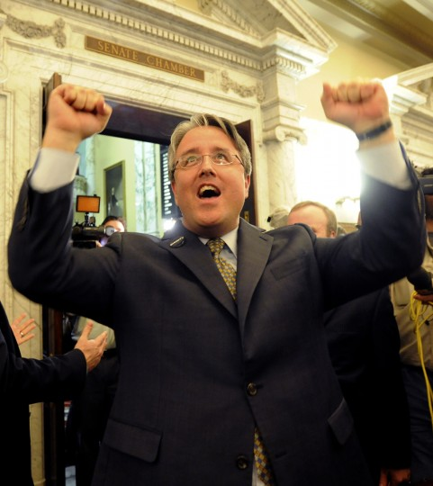 Senator Madaleno cheers outside the Senate after the Same Sex Marriage Bill passed. (Algerina Perna/Baltimore Sun)