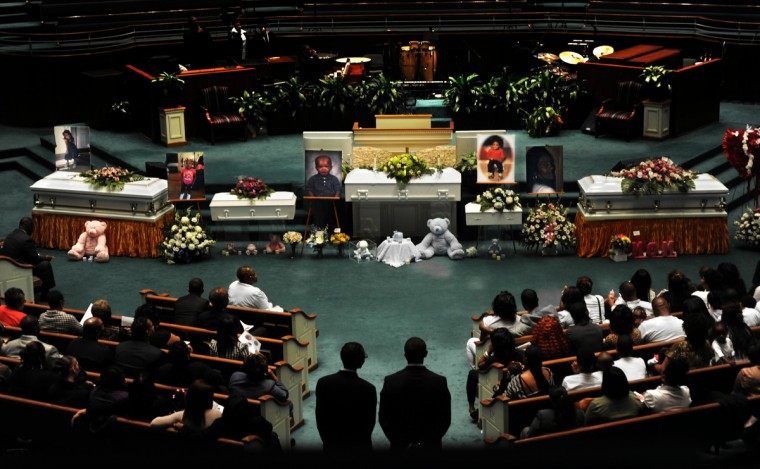 The funeral for five members of the Worrell family who perished in a fire was held at Mount Pleasant Church and Ministries. The names of the children and grandmother who died from left are: Tykia Manley, 7; K'niyah Nora Scott, 2; Darryl Kenneth Steward III, 4; James Tivon Holden, Jr., 1 year, and Mrs. Nancy Fenner-Worrell. Fenner-Worrell was the great grandmother to James Holden, Jr. (Algerina Perna/Baltimore Sun)