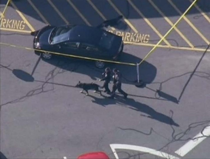 Police tape off an area around a car after a shooting at Sandy Hook Elementary School in Newtown, Connecticut,. (WNBC/via Reuters)