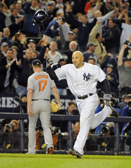 Yankees Raul Ibanez hits a game winning homer off Orioles' Brian Matusz in the bottom of the 12th inning, his second homer of the game. (Lloyd Fox/Baltimore Sun)