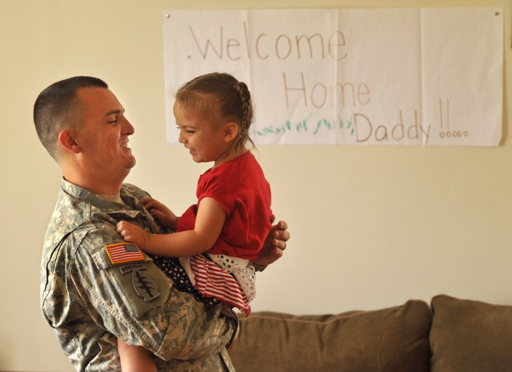 Sgt. Justin Haggerty, 27, who returned from Afghanistan in January, will get to celebrate the 4th of July with his wife Joanna, 25, and daughter Joilee, 3, at his home base in Fort Meade. (Amy Davis/Baltimore Sun)