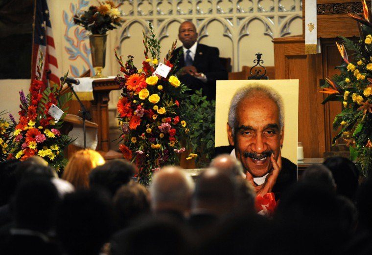 U.S. Representative Elijah Cummings sits in the background, waiting for his turn to pay tribute to Sen. Clarence M Mitchell, III (pictured) at Sharp Street Memorial Church during Sen. Mitchell's memorial service. (Algerina Perna/Baltimore Sun)