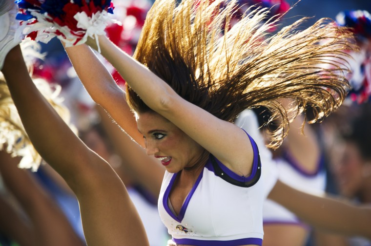 The Ravens cheerleadeers perform routines during the Ravens game against the Oakland Raiders at M&T Bank Stadium. (Christopher T. Assaf/Baltimore Sun)