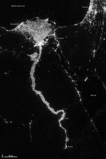 The Nile River Valley and Delta comprise less than 5 percent of Egypt's land area, but provide a home to roughly 97 percent of the country's population. Nothing makes the location of human population clearer than the lights illuminating the valley and delta at night.