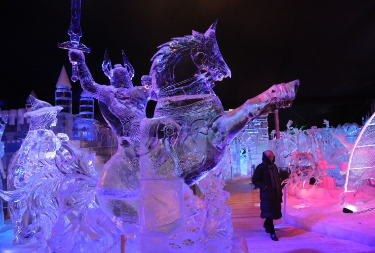Ice Sculptures are displayed at the Snow and Ice Sculpture Festivalin Brugge, Belgium. (Mark Renders/Getty Images)